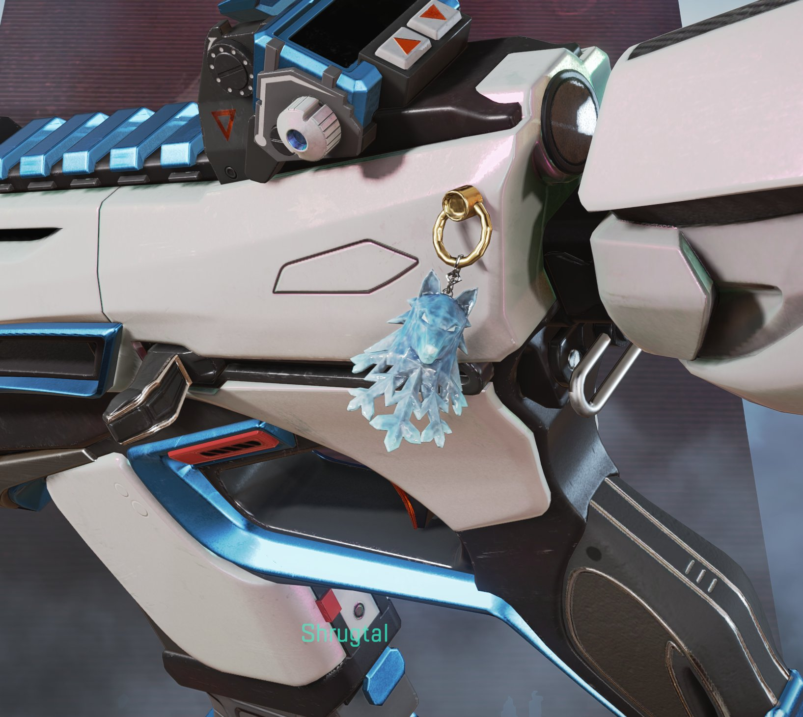 """Holo-Day Bash 2020 Charm: """"Frost Wolf"""". Themed after the shoulders of the unfinished Loba legendary."""