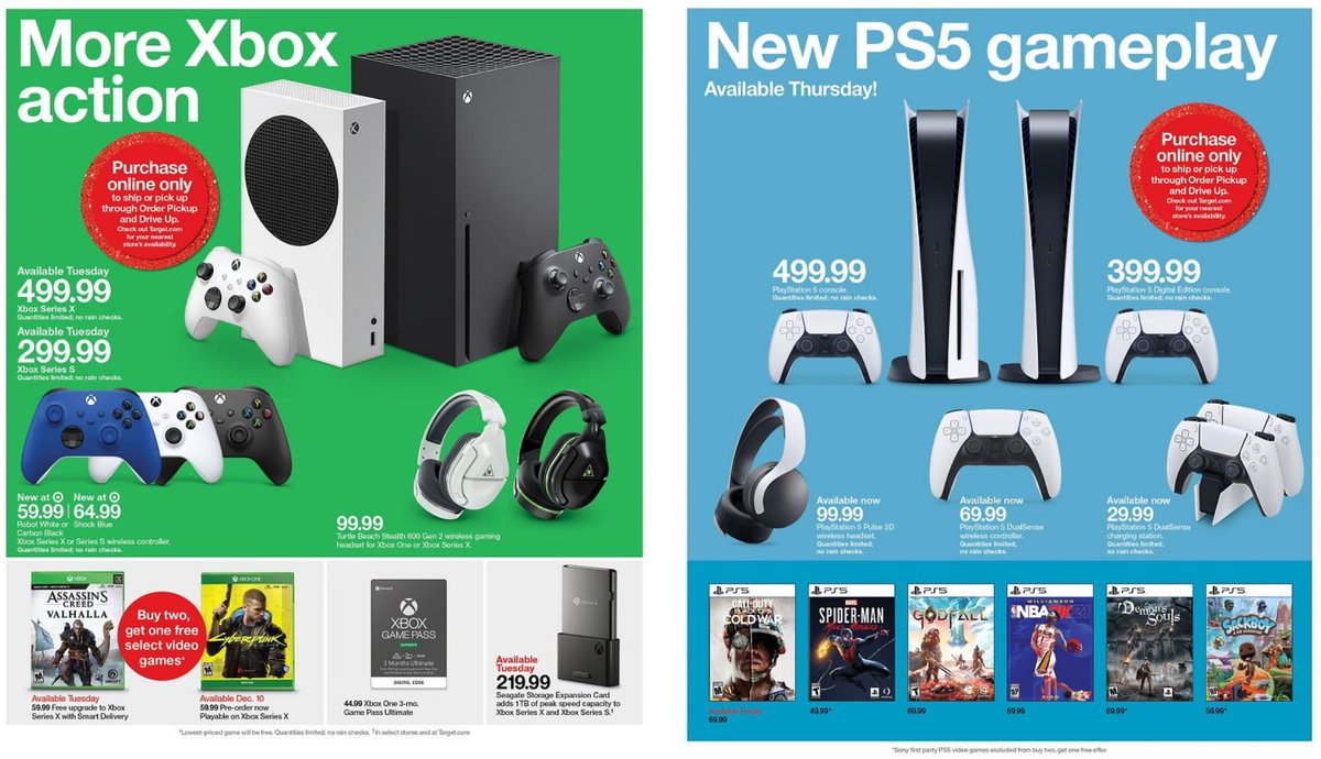 Wario64 On Twitter Nothing New But Target S Ad Confirms That Ps5 And Xbox Series Consoles Will Only Be Sold Online Next Week For Shipping Or Store Pickup Https T Co Yrbv7hgvbu Https T Co Egk1shvwm4
