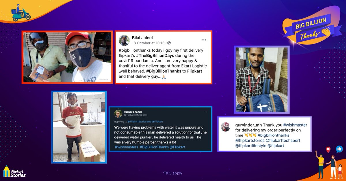 Our hard-working #wishmasters are a big part of what made #TheBigBillionDays sale special! To show them the appreciation they deserve, we asked our customers to send in their messages of love and encouragement in the #BigBillionThanks contest. Here are the winning entries.