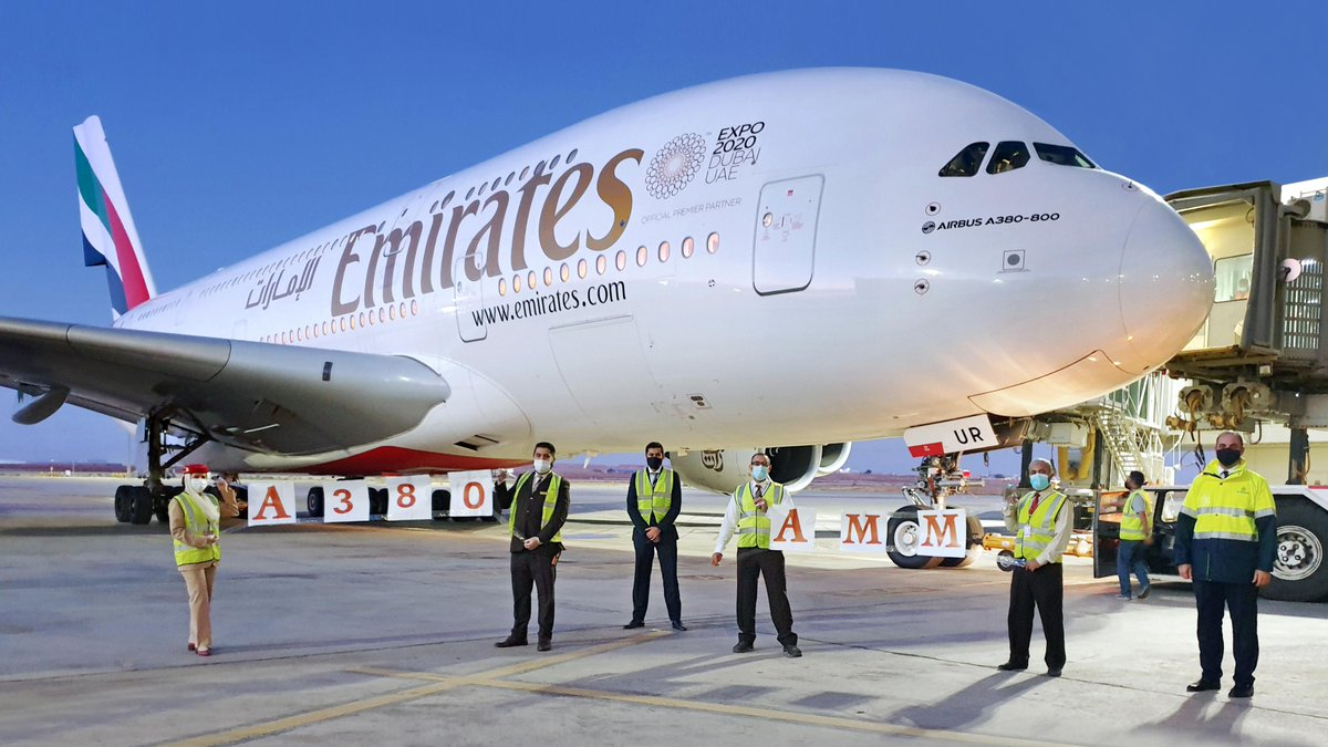 Emirates has resumed @Airbus A380 services to Amman with three weekly flights from @DXB. ✈️🇯🇴  Fly better on the Emirates A380 to Amman, Cairo, Paris, London Heathrow, Guangzhou & Moscow.  #FlyEmiratesFlyBetter @QAIAirport @ParisAeroport @HeathrowAirport @dme_aero https://t.co/3tnKSg4p0c