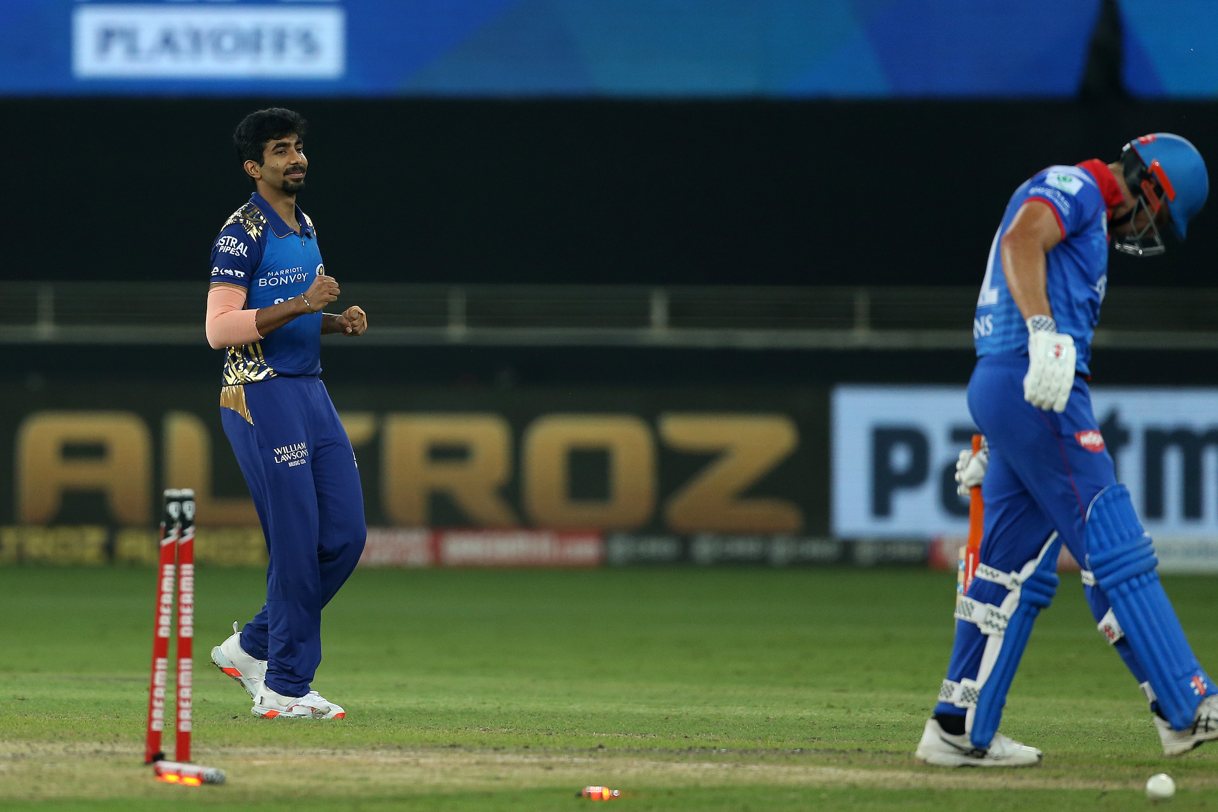 IPL 2020: Bumrah cleans up Marcus Stoinis in his 2nd spell Fire, Stoinis' fighting knock of 65 comes to an end