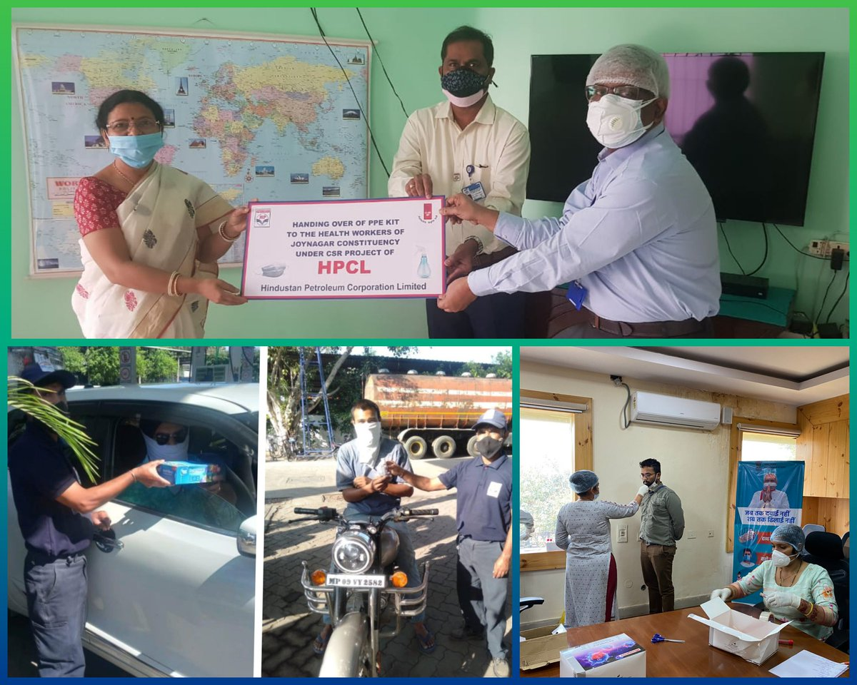 As a part of the #JanAndolan, #HPCL has been continuously inculcating #COVID19 appropriate behaviour. Here are glimpses of masks & sanitizers being handed over to Hon. MP Smt Pratima Mondal & our customers; and testing camps being conducted at HPCL locations. #Unite2FightCorona