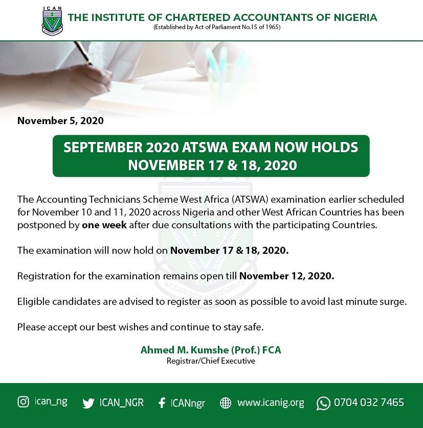 ATSWA Examination for November 2020 Rescheduled