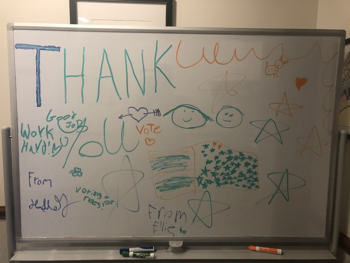 My daughters made good use of an office dry erase board to say thanks to our team, the bipartisan election officials and over 56,000 patriotic poll workers for their amazing work Tuesday — THANK YOU!
