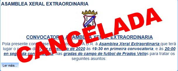 Debido a la situación sanitaria actual, la CONVOCATORIA de ASAMBLEA XERAL EXTRAORDINARIA, prevista para el próximo 7 de Noviembre, queda cancelada.