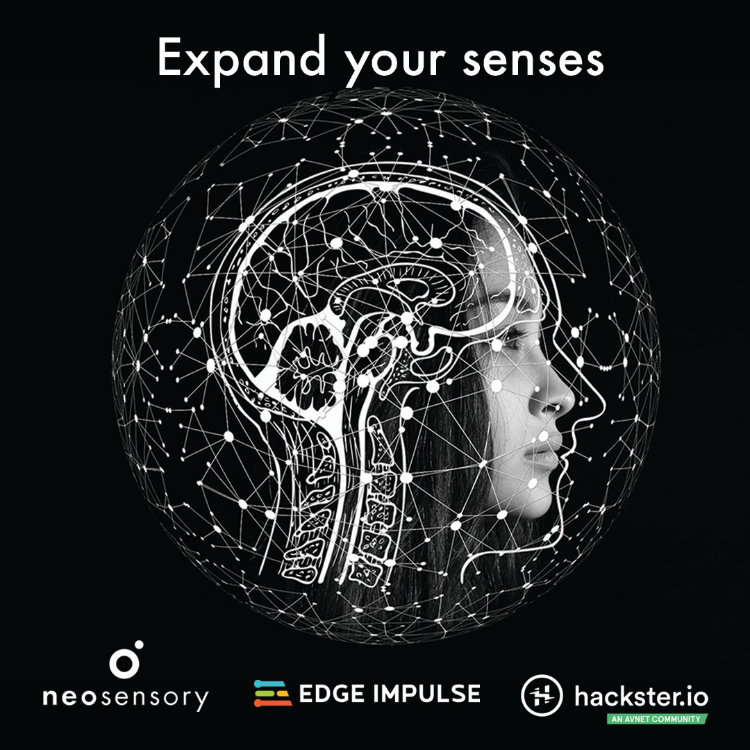 Neosensory is teaming up w/@EdgeImpulse for our new #developercontest. Explore new senses, solve problems & expand the human experience. Enter today to show off your idea & a chance to win $3,000+ in prizes! @Hacksterio #expandyoursenses #machinelearning #neuroscience #developers