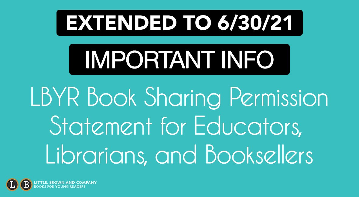 UPDATE: The LBYR book sharing permissions have been extended through the remainder of the school year.   Our gratitude for the incredible educators working to support students and families during this challenging time grows every day. You are amazing.  🔗: