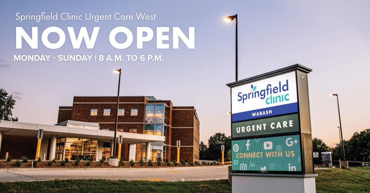 Springfield Clinic Urgent Care West is now open seven days a week from 8 a.m. to 6 p.m. to safely care for our community. Book an appointment online or walk in today.