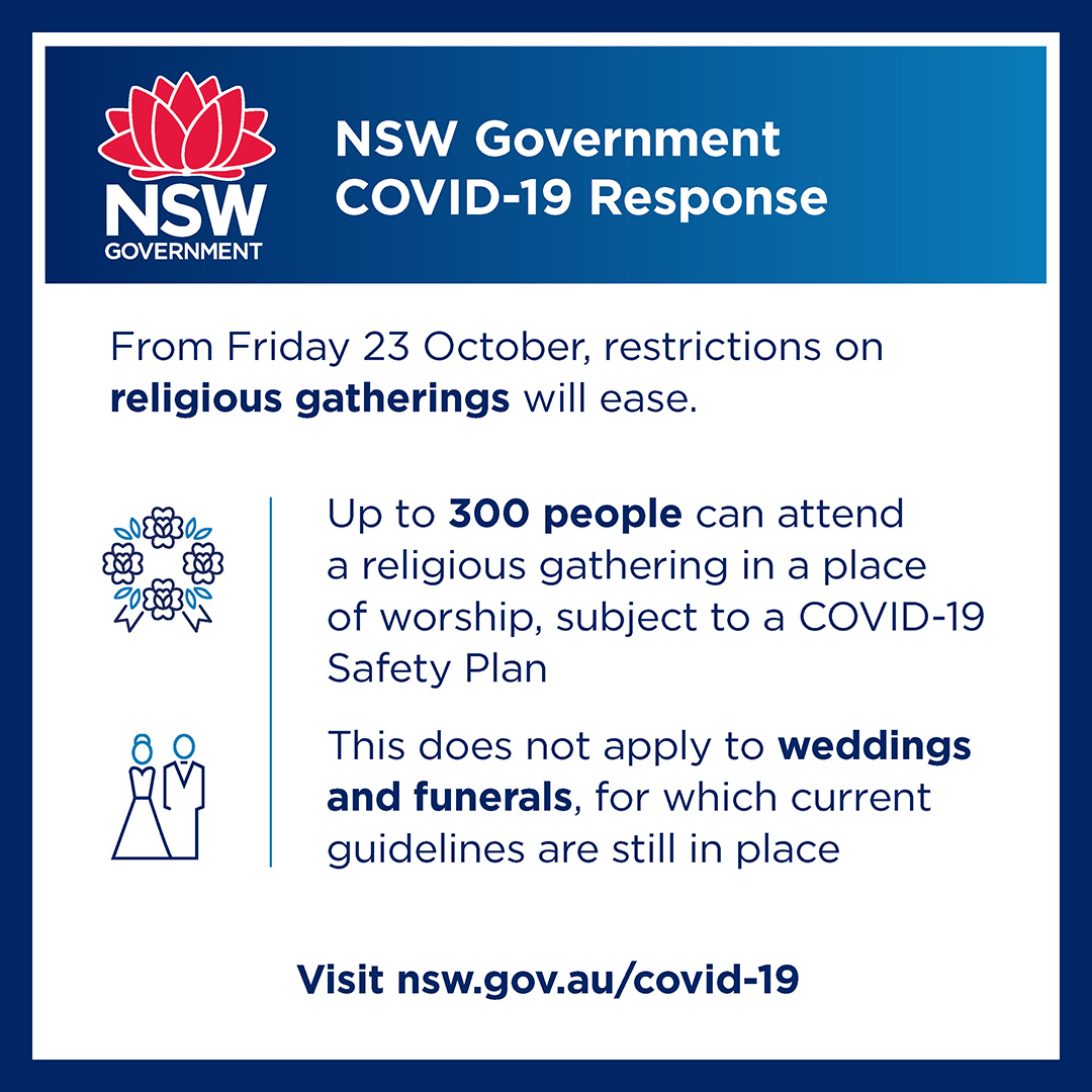 À¦Ÿ À¦‡à¦Ÿ À¦° Nsw Multicultural Health Communication Service From 23 October Restrictions On Religious Gatherings Will Ease Up To 300 People Can Attend A Religious Gathering Subject To A Covid 19 Safety Plan Nswhealth Https T Co 5epqxjasqx