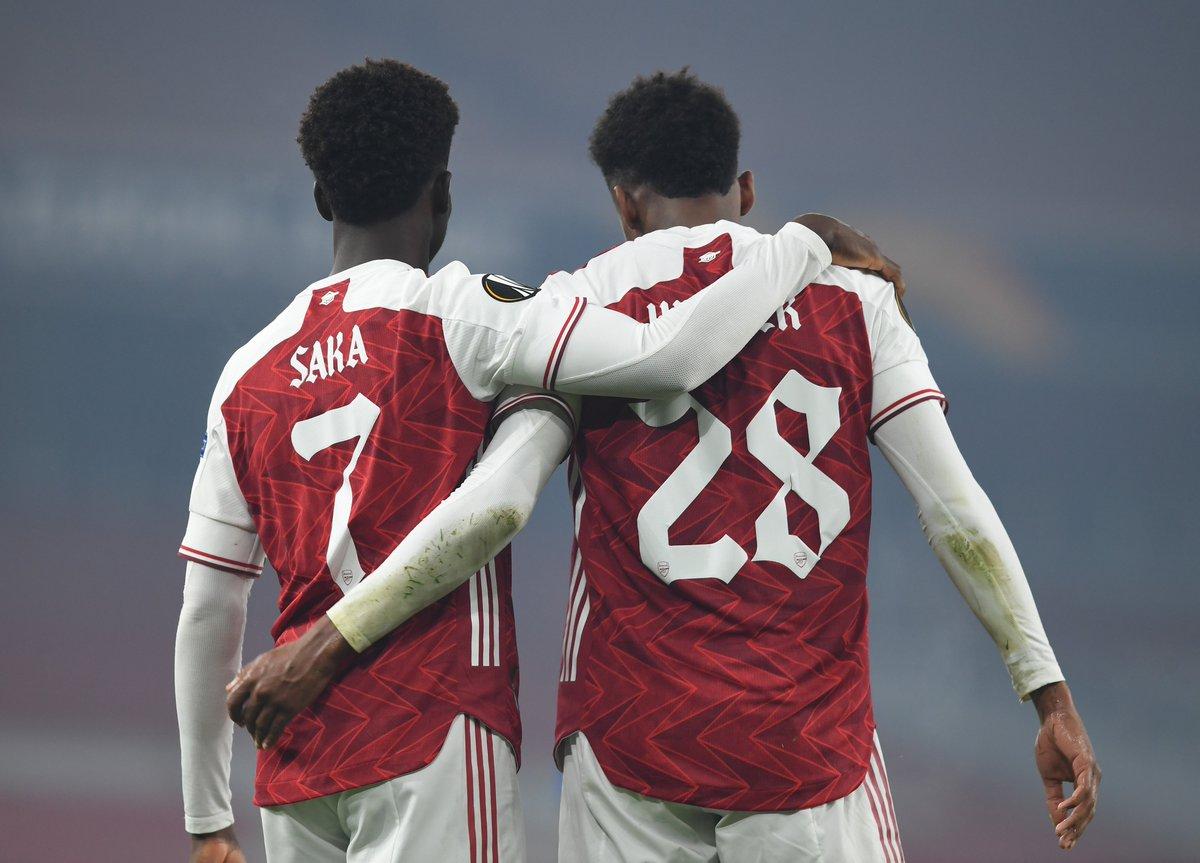 Replying to @Arsenal: Made in Hale End 🔴  🏴 @BukayoSaka87  🏴 @JoeWillock