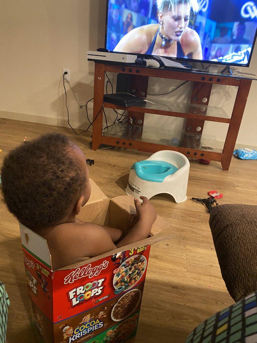 So my dude #babyelias absolutely loved watch @RheaRipley_WWE kick butt tonight all while sitting in his cereal box. #nxthalloweenhavoc #wwe #NXT #rhearipley