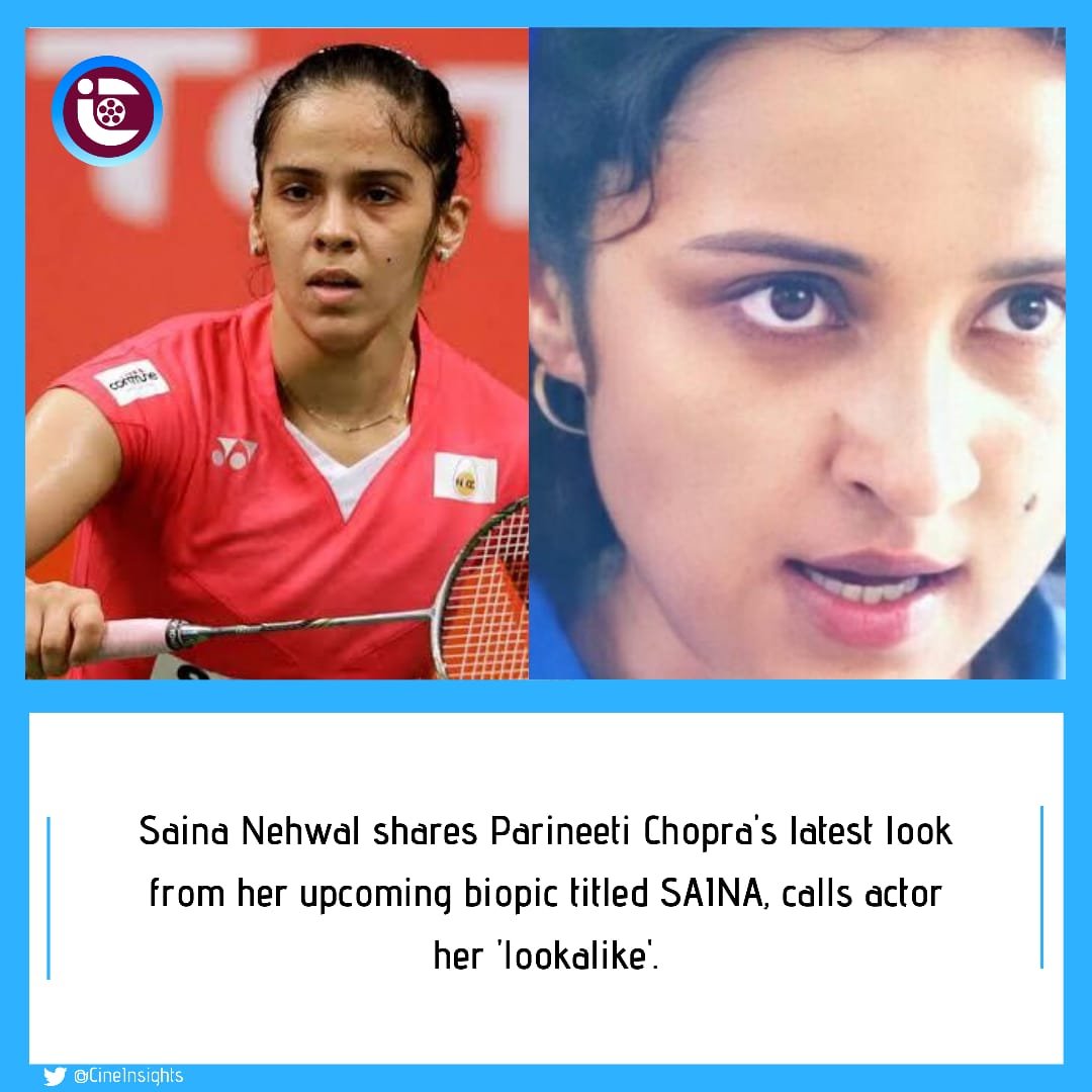 #SainaNehwal shares #ParineetiChopra's latest look from her upcoming biopic titled #SAINA, calls actor her 'lookalike'.  #ManavKaul to play the role of #PullelaGopichand - #Nehwal's coach.  Directed by #AmoleGupte & produced by @TSeries,  #SainaNehwalBiopic will release in 2021.