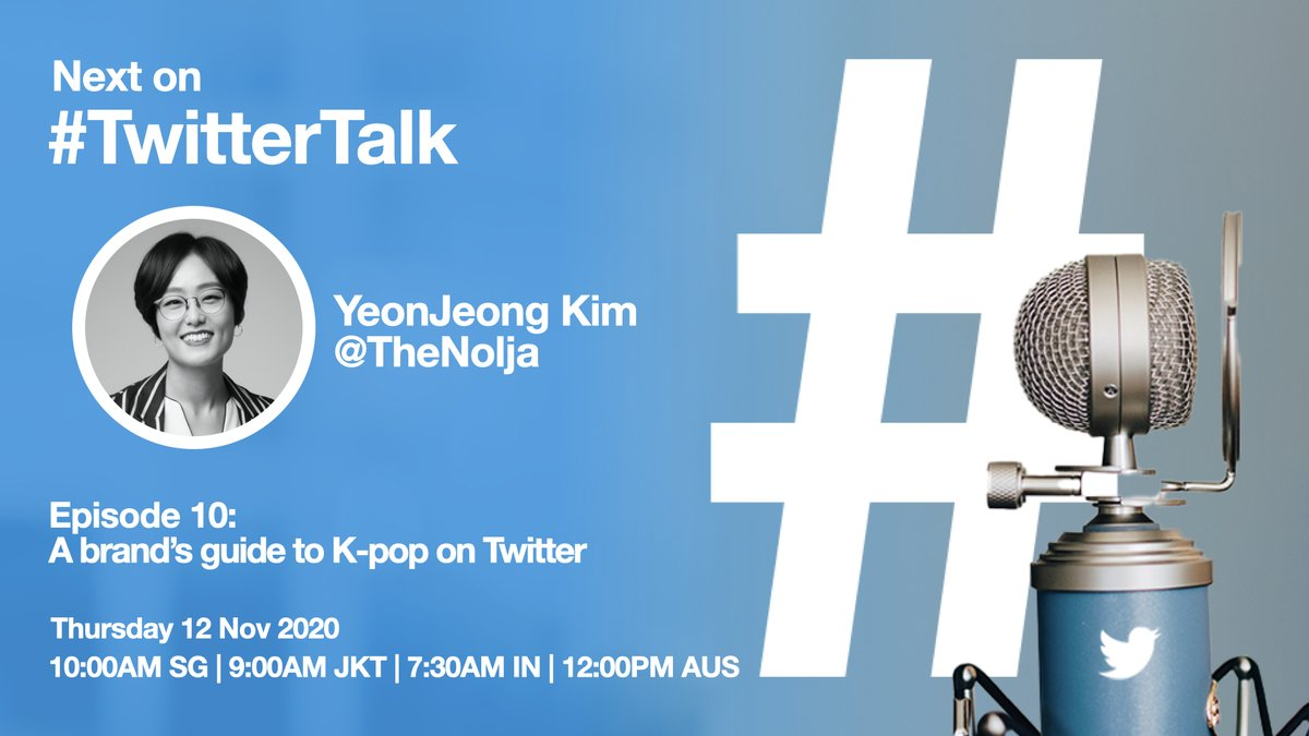 Catch me next week on #TwitterTalk🎙️. Excited to chat with @yeecharmaine about what we've learned from a decade of #Kpop on Twitter. @Avrcl and I will also answer questions on all things #KpopTwitter & what it means for brands! Register now: