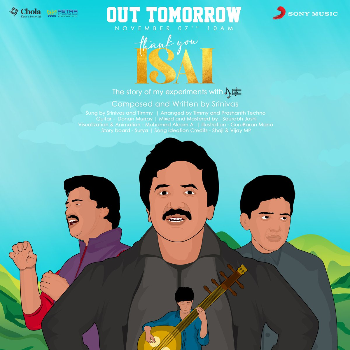 #ThankYouIsai from the desk of @singersrinivas arriving at 10AM tomorrow! ♥️  Stay tuned for this melody! 🥰  @SilverTreeOffl @noiseandgrains