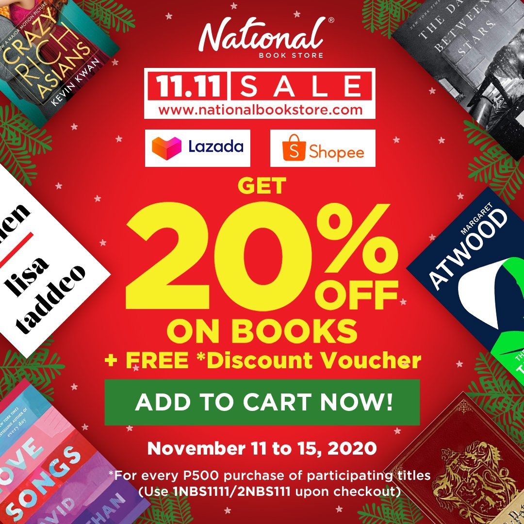 SALE ALERT: Get ready for our 11.11 SALE on  and our Shopee and Lazada stores! Enjoy 20% OFF on books AND get a FREE discount voucher*!  Sale runs from November 11 to 15, 2020. Add to cart now and check out later! #NBSsale #NBSbookstagram #NBSeveryday