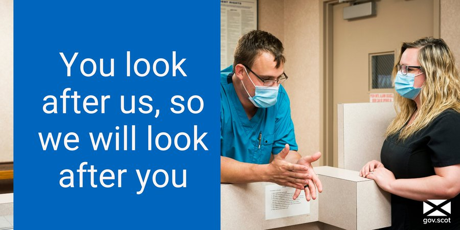 A photograph of a hospital workers wearing masked with a text reading: You look after us, so we will look after you.