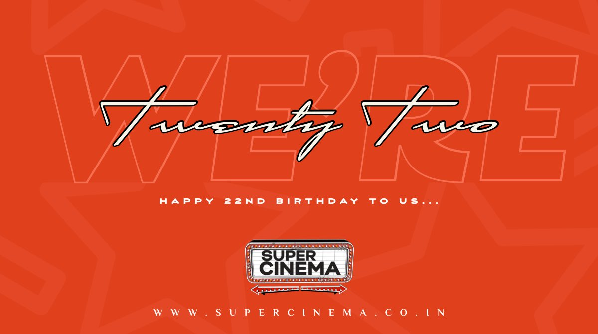 We're 22 today.  It's been a long and fulfilling journey and we intend to continue on the same path etched by our founder and my father for eons to come.  #22YearsOfSuperCinema #SuperCinema     @supercinemaent @anshulmohan