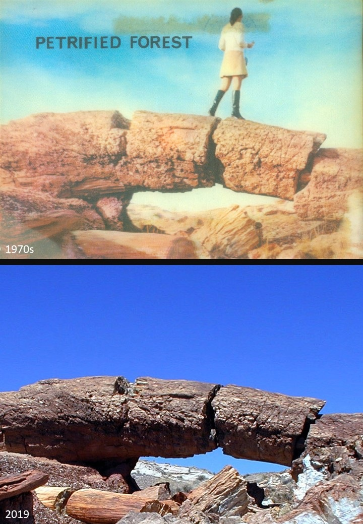 Compare a 1970s postcard to a photo of the current Keystone Arch. The postcard, btw, is one of those plastic 3D ones with the faintly corrugated surface that changed slightly if you moved it. (hl) #thenandnow #PetrifiedForest #NPS