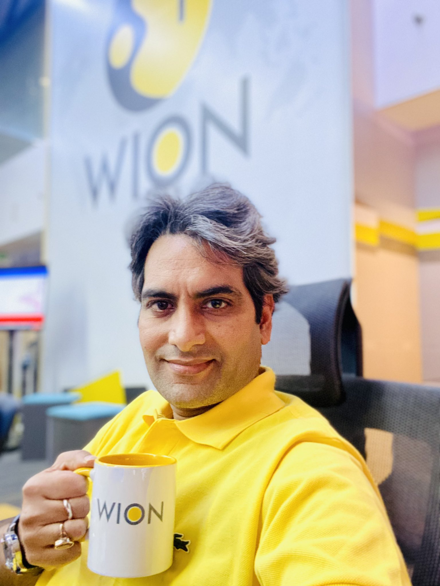 """Sudhir Chaudhary on Twitter: """"YELLOW is the brightest colour the human eye  can see. Now it's also the brightest colour of NEWS. YELLOW now represents  @WIONews . #BleedYellow… https://t.co/BJ9lCI6EjA"""""""