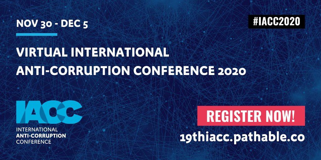 Registration for the virtual International Anti-Corruption Conference is now open🎉! We are bringing to you the largest IACC ever for FREE. From 30 Nov to 5 Dec, join us at the #IACC2020!   Sign-in & register: https://t.co/HQHbyVzafc  +Info: https://t.co/J3WKGbyKKA https://t.co/ehllxc6Ky7