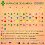 Image for the Tweet beginning: Calendario de #farmacias de guardia