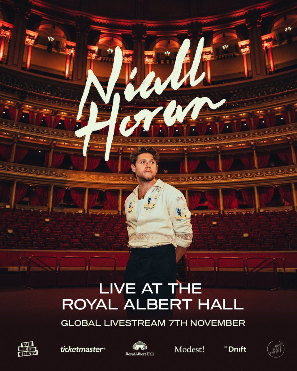 Good luck to @NiallOfficial for his global livestream at the Royal Albert Hall tomorrow 🎤🎸  The gig is in aid of touring crews whose livelihoods are at risk in the pandemic, with profits split between Niall's crew and the #weneedcrew relief fund 👉