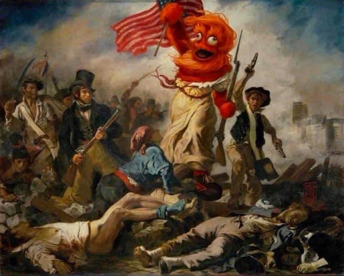 Gritty painted on to the painting of the woman of the revolution