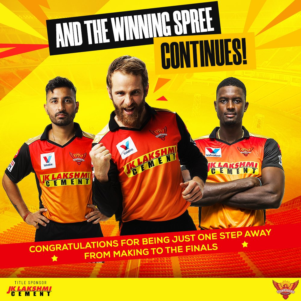 Brilliant performance by @SunRisers  as they win yet another match and inch closer and closer to the finals.  #RisersWithBulandSoch #SRH #SunRisersHyderabad #OrangeArmy #KeepRising
