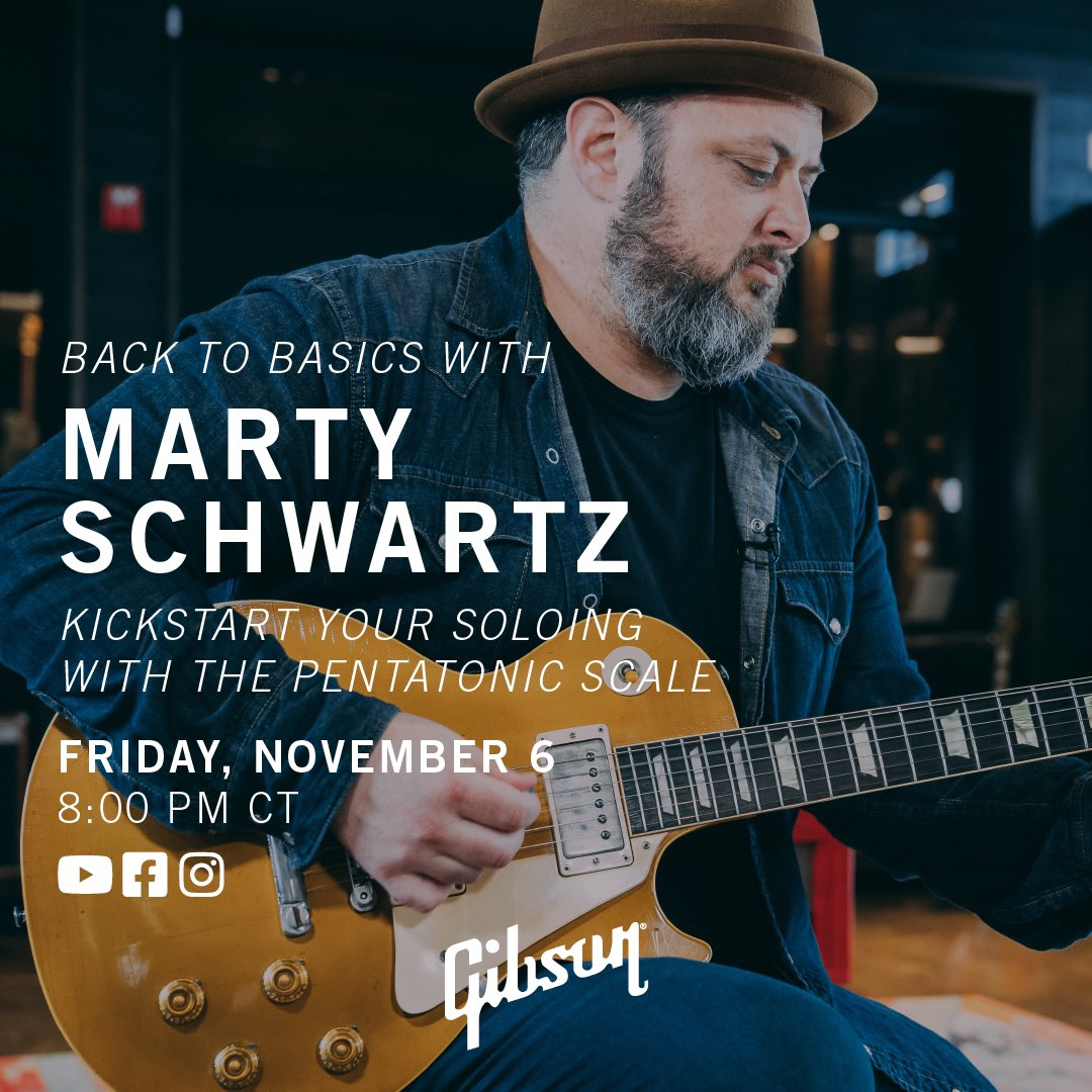 TONIGHT at 8:00pm CT we are going LIVE with @MartySchwartz on Gibson and getting Back To Basics: Kickstart Your Soloing With The Pentatonic Scale. Don't miss it! #gibson