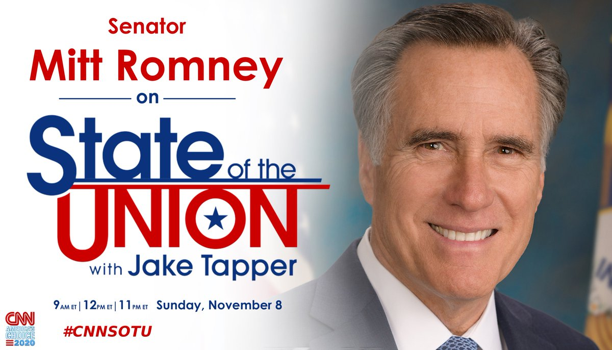Replying to @CNNSotu: SUNDAY: @SenatorRomney joins @jaketapper on #CNNSOTU. Tune in!