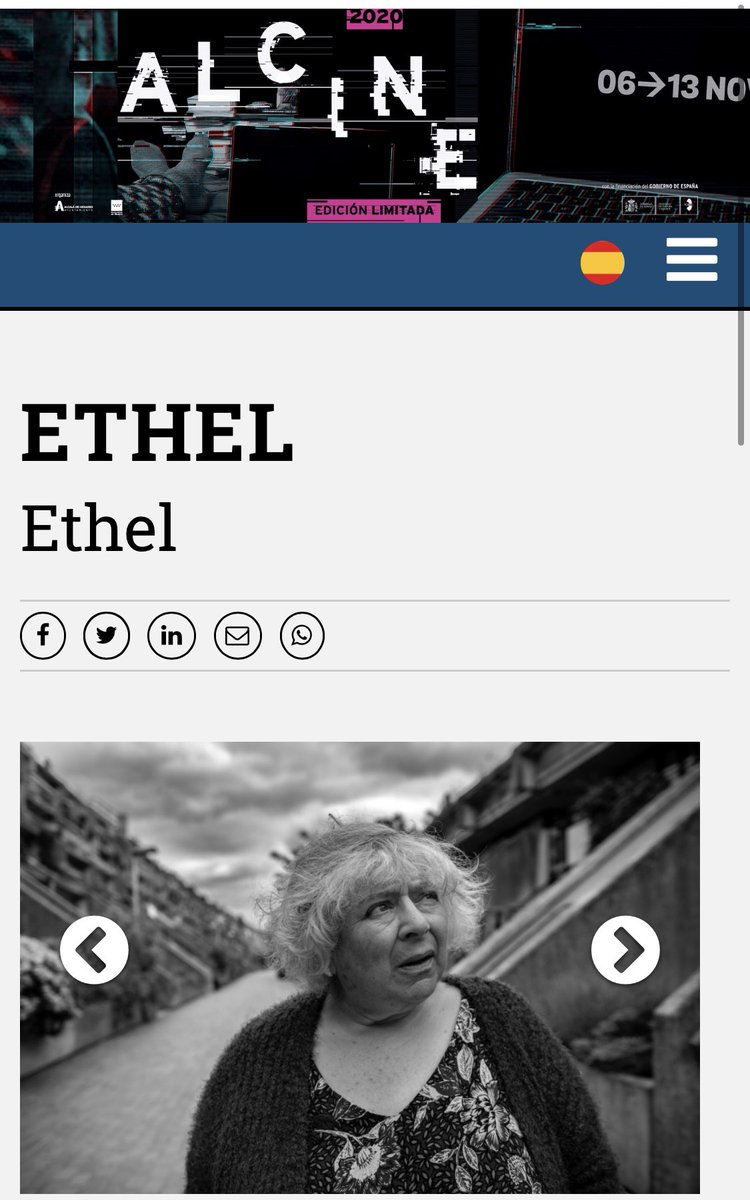 We're delighted for @ethelshortfilm to have been selected by @ALCINEFILMFEST #Spain for their Language in Short section of 2020's Virtual fest. Cast #MiriamMargolyes #ElijahBaker @JJHamblett @professorgreen @HussainManawer_ #Alzheimers #Dementia 📸 #photocredit @KevinScullion
