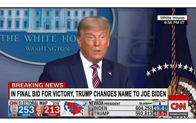 【速報】最後の手段としてトランプ大統領が名字をバイデンに変更