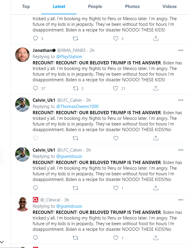 Marc Owen Jones On Twitter 3 A Little Juicier This Copypasta Crew Are Explicitly Repeating The Claim That The Election Was Rigged Which Again Is False And Misleading Election2020results Https T Co Sdwb3otdnf Copypasta can usually be found posted in a discussion about any subject, and will usually be intended to draw out newer users into responding negatively to it, much to the amusement of more veteran users. marc owen jones on twitter 3 a