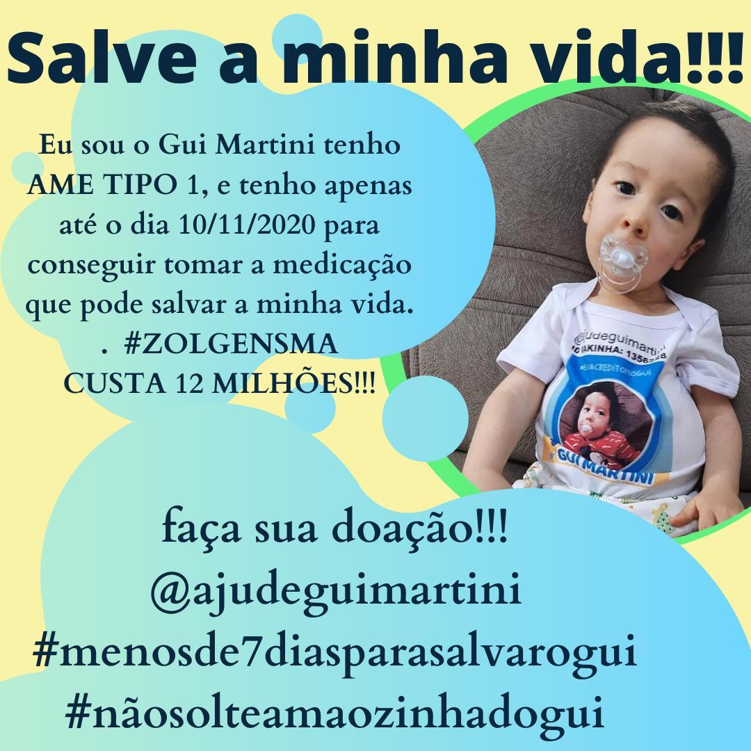 @ivetesangalo @TeletonOficial @SBTonline Pelo amor de Deus nos ajude a salvar o Gui Martini um bebê estamos correndo contra o tempo #menos7diasparasalvarogui cada valor importa por favor pessoal nos ajude retuita, curti, doa
