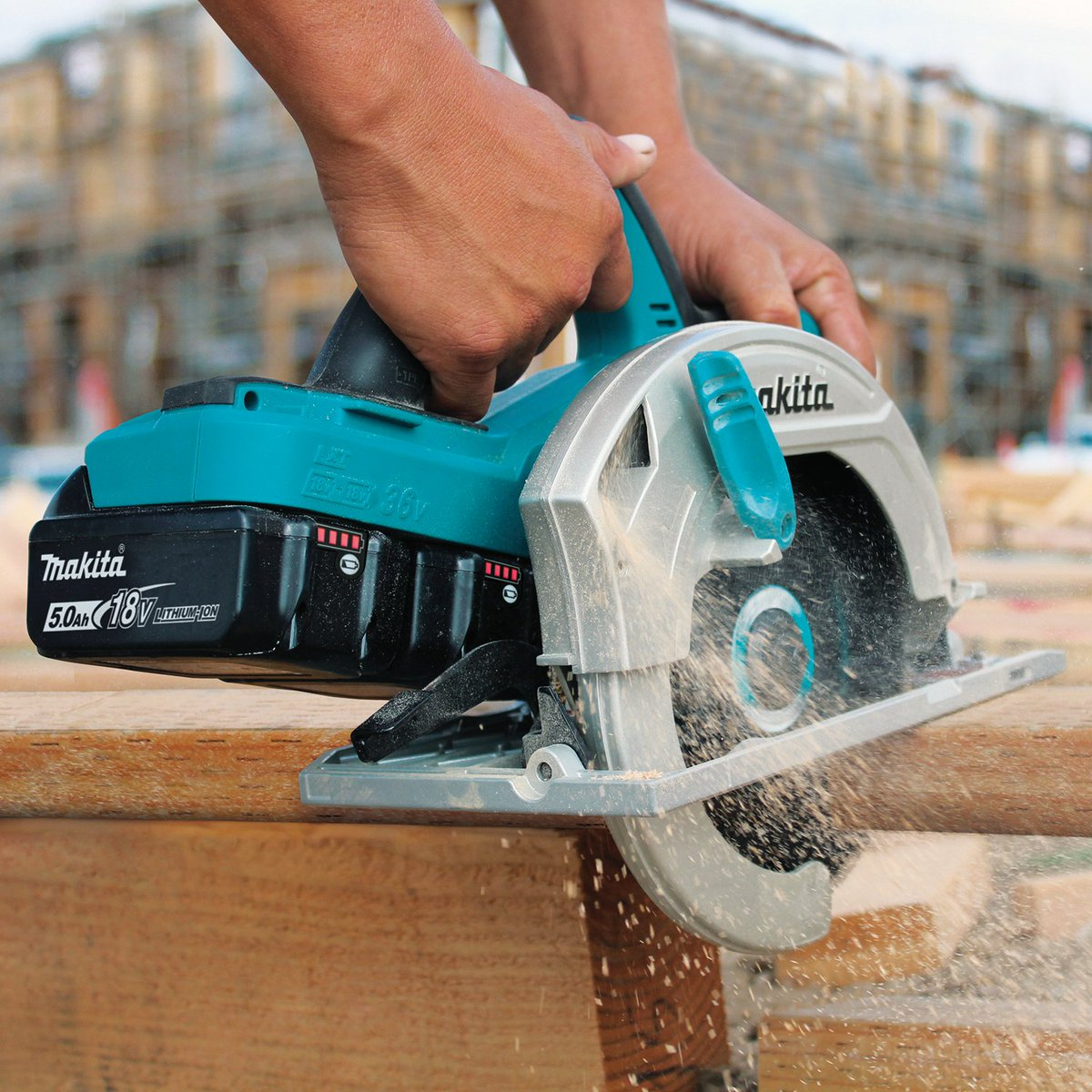 """The 18V X2 (36V) LXT Cordless 7-1/4"""" Circular Saw (XSH01) provides the performance of a corded saw with cordless convenience. The Makita-built motor delivers 4,800 RPM for fast cutting.   #xsh01 #circularsaw #makitausa #powertools"""