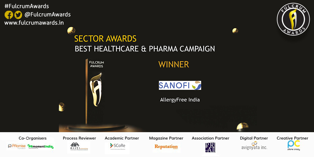 AllergyFree India wins  Best Healthcare and Pharma Sector Campaign. Congratulations team @IndiaSanofi https://t.co/QH5iY58UmP