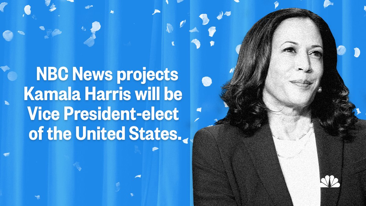 BREAKING: Kamala Harris will make history as the first female, first Black and first Asian American to be U.S. vice president-elect.