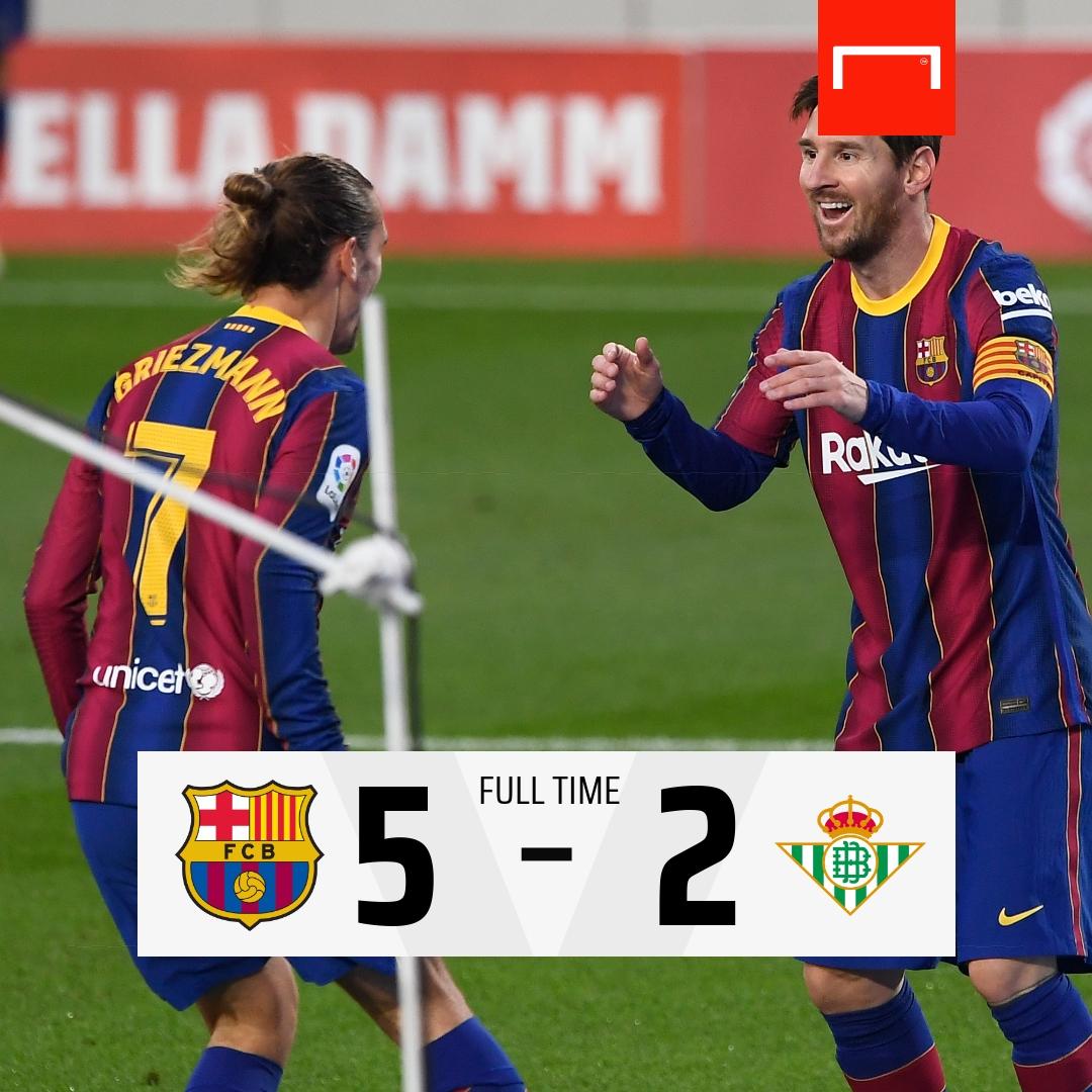 22' Dembele 45' Sanabria 49' Griezmann 61' Messi 73' Loren Moron 82' Messi 90' Pedri  What a game 🔵🔴  #BarçaBetis