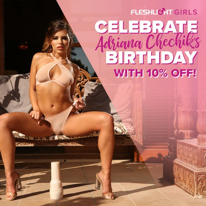Celebrate Fleshlight Girl @adrianachechik's birthday ALL MONTH with 10% off her Fleshlight by using coupon