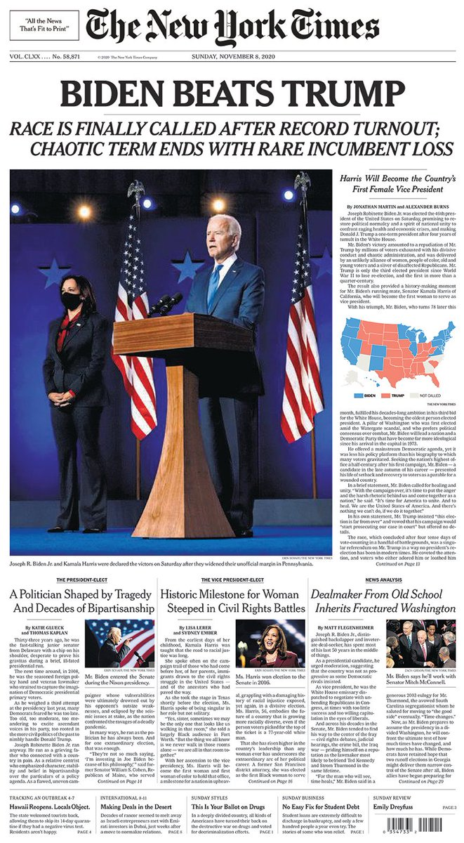 Replying to @nytimes: The front page of The New York Times for Nov. 8, 2020.