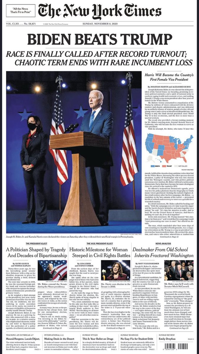 Tomorrow's historic @nytimes front page
