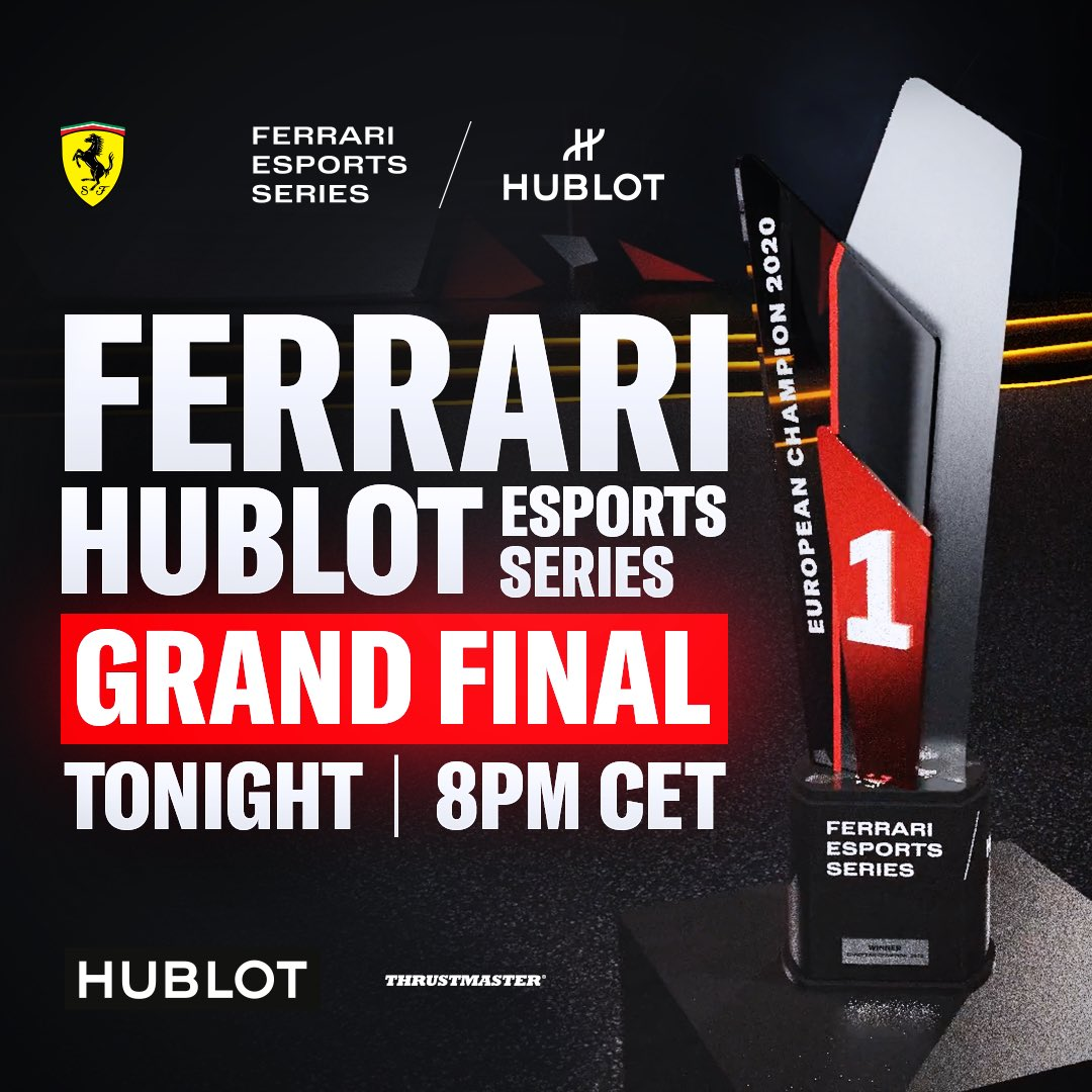 The Ferrari Hublot Esports Series is ending soon! Yesterday I watched the races and I was impressed by so many talented drivers. The finals are going live now, who is gonna be the next champion? Watch at @ferrariesports Twitch at 8 pm CET! https://t.co/p4BOHDjUs9