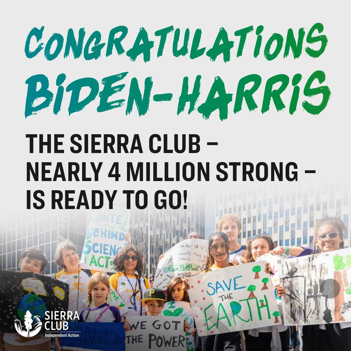 The Sierra Club congratulates Joe Biden and Kamala Harris on this victory! This is a win for our democracy, our climate, and a first step toward repairing the damage of the past four years.  The Sierra Club is ready to go! Are you?  #changepoweredbypeople #peopleplanetpower