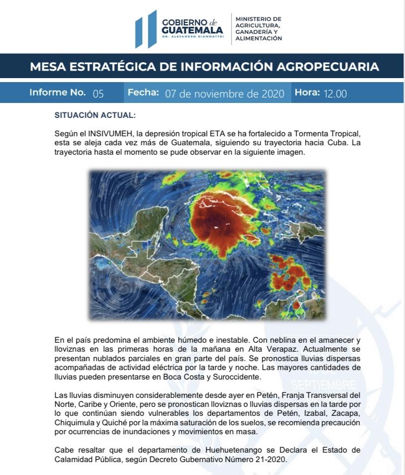 📄 Informe No.5 de la Mesa Estratégica de Información Agropecuaria por el paso de la Depresión Tropical ETA. 🌧️