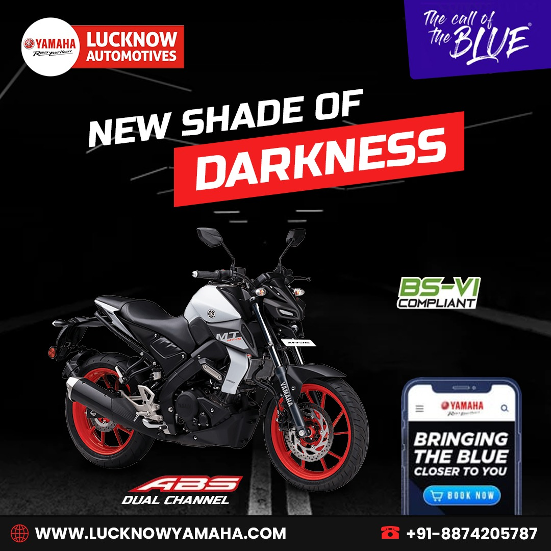 Haven't seen the new shade of Darkness yet?? Ride #MT15 and feel the power with the best fuel efficiency and power. Call Us📲:- +91 8874205737 #Lucknow #theridinghunter #txtasad #superbikers #riding #bikersclub #watchsaad #superbike #sportsbike #SundayThoughts #lucknowyamaha