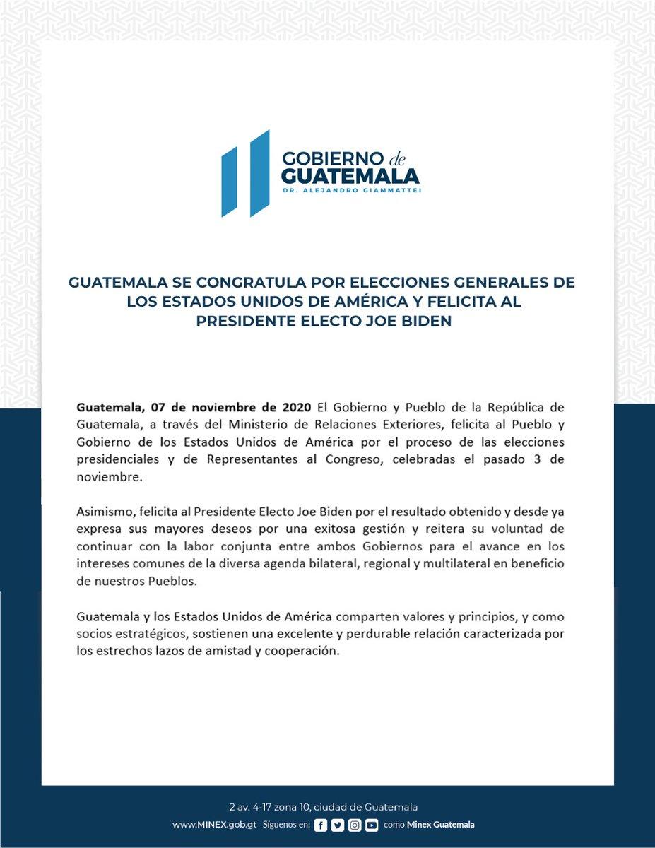 El @GuatemalaGob extiende sus felicitaciones a @JoeBiden por su elección como Presidente y a @KamalaHarris como vicepresidente electo de los Estados Unidos de América. Continuaremos trabajando en conjunto para fortalecer nuestra relación bilateral y avanzar en objetivos comunes.