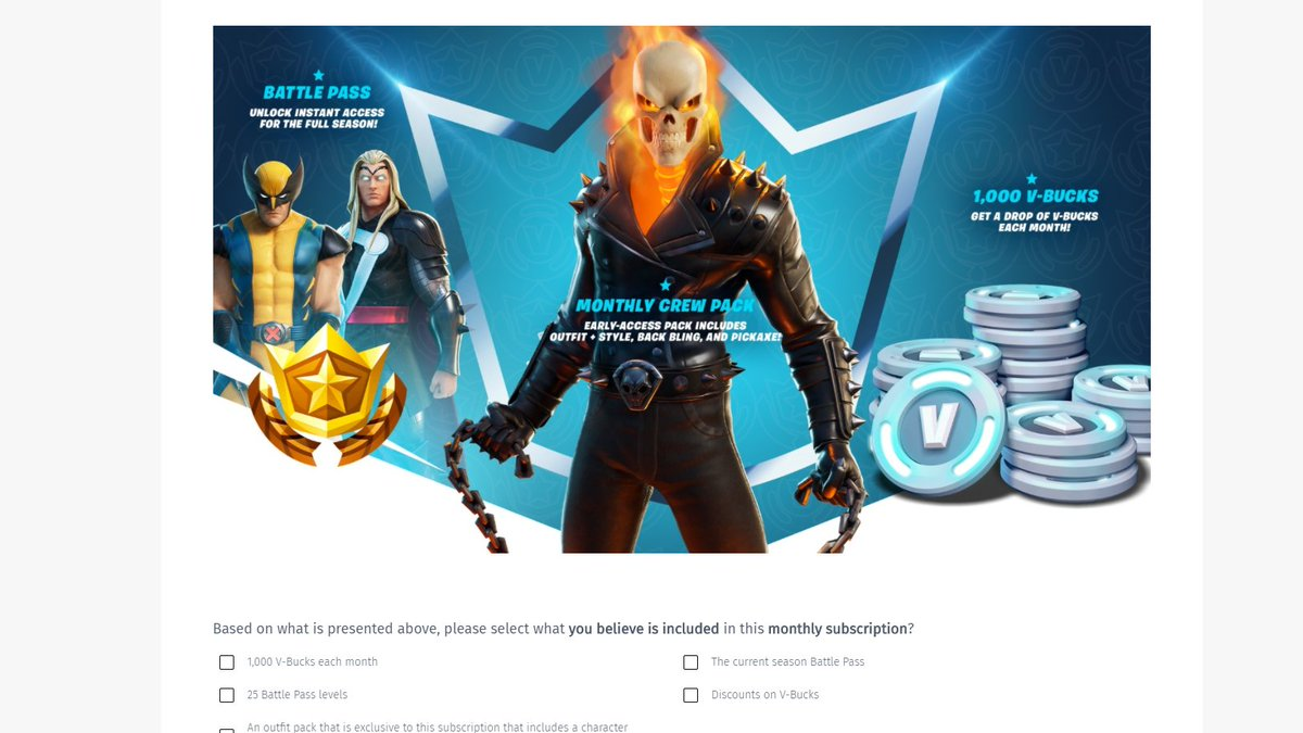 ifiremonkey on twitter fortnite monthly crew pack leak in a recent survey epic games has sent out this image can be seen with the image users are being quizzed on how they fortnite monthly crew pack leak