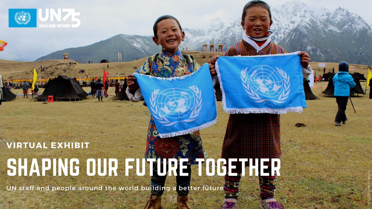 "Celebrating #UN75, ""Shaping Our Future Together"" showcases how staff of the UN system, with people around the world, are working to build a better future.  We invite you to reflect on these images and to continue the dialogue about ""The Future We Want"":"