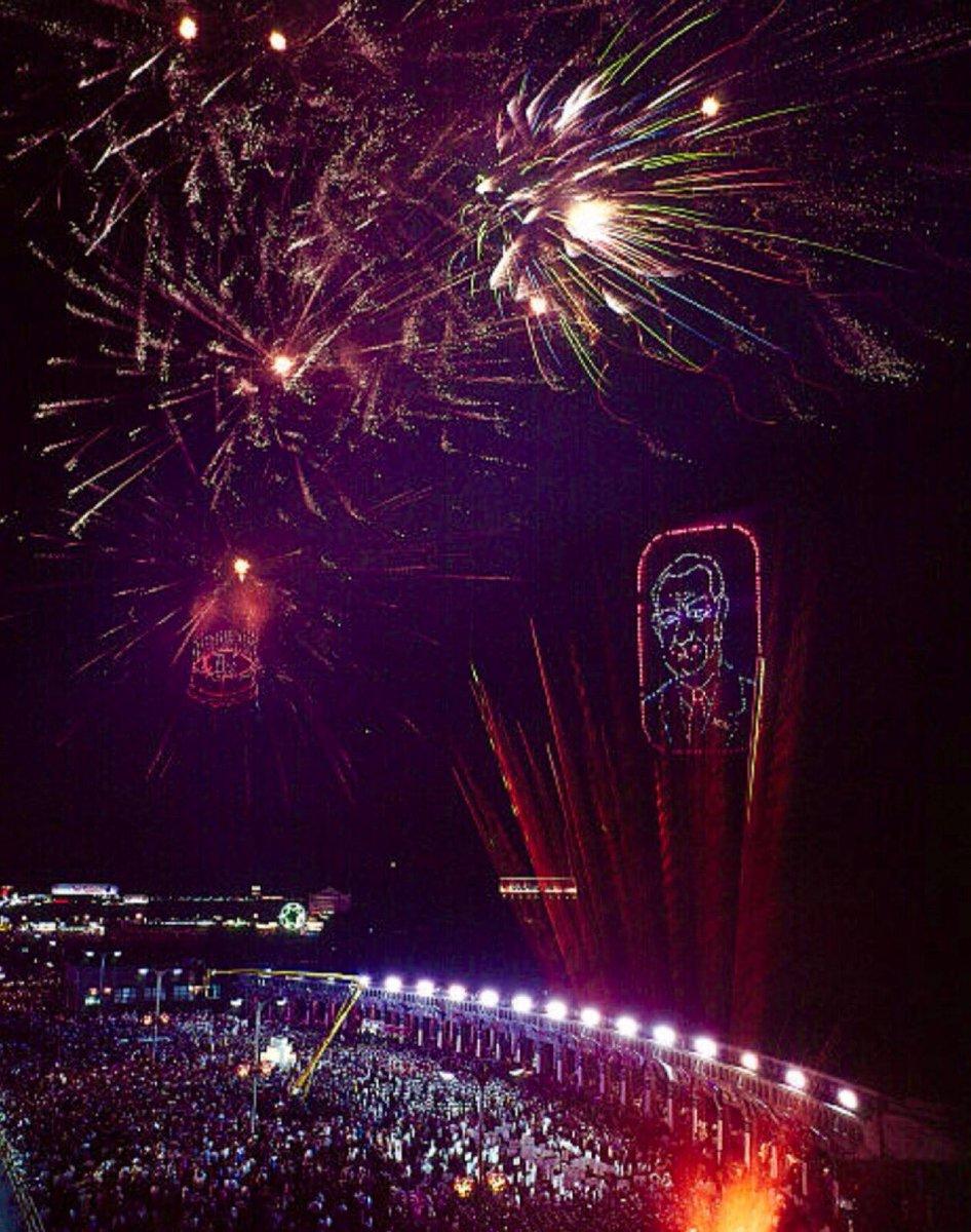 Fireworks create portrait and birthday cake of LBJ at Democratic convention, 1964, Atlantic City: