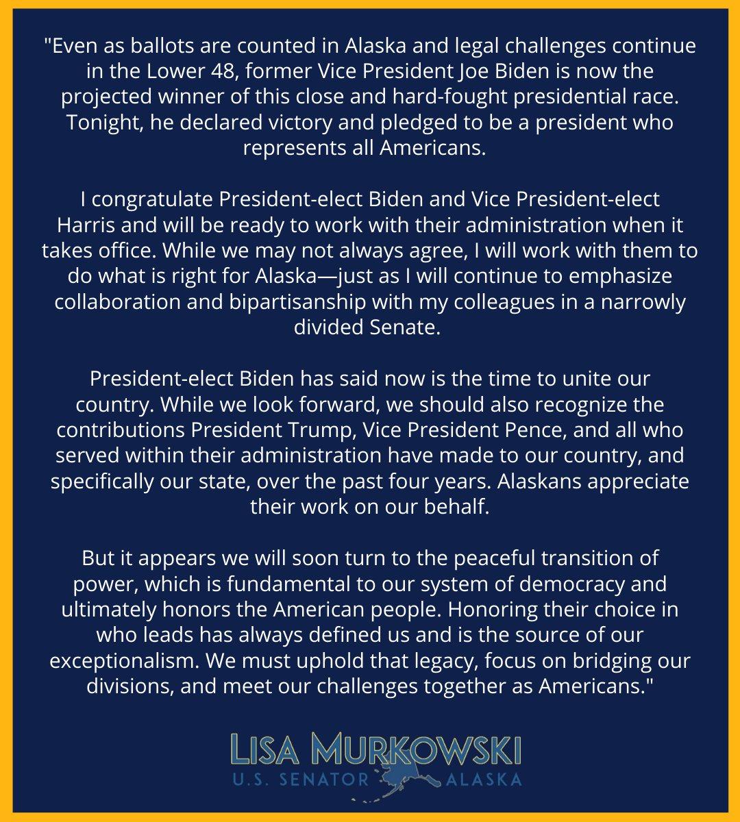 Sen. Lisa Murkowski (@lisamurkowski) on Twitter photo 08/11/2020 03:57:19